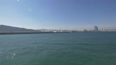 Floating along the shore towards Barcelona Stock Footage