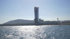 The W Barcelona building located on the seafront Stock Footage