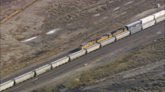AERIAL United States-Two Long Freight Trains Passing - stock footage