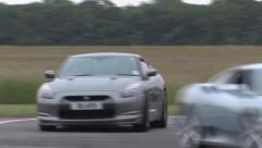 Nissan GTR on track Stock Footage