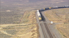 AERIAL United States-Freight Train On Way To Medicine Bow Stock Footage