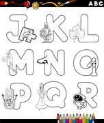 Stock Illustration of cartoon alphabet coloring page