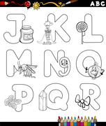 Stock Illustration of cartoon alphabet for coloring book