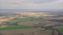 AERIAL United States-Flight Past Farmland With Delaware River In Background Stock Footage