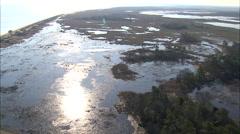 AERIAL United States-Flight Over Backlit Wetlands Stock Footage