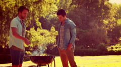 Three friends in the park having barbecue Stock Footage