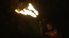 Fire-Breather Making Fire Explosion Stock Footage