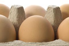 Eggs in a grey cardboard carton box Stock Photos