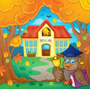 Owl teacher near school building theme - eps10 vector illustration. - stock illustration