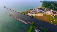 Aerial View of Kewaunee Wisconsin Harbor, Scenic Waterfront, Lighthouse Stock Footage