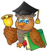 Owl teacher theme image - eps10 vector illustration. - stock illustration