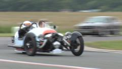 Stock Video Footage of Morgan 3 wheeler on track, M3W