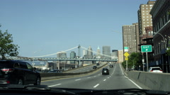 cars on FDR Drive, driving toward Manhattan Bridge in 4K, NYC - stock footage
