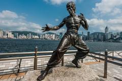 Bruce Lee statue Avenue of Stars Tsim Sha Tsui Kowloon Hong Kong Stock Photos