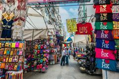 People shopping ladies market Mong Kok Kowloon Hong Kong Stock Photos