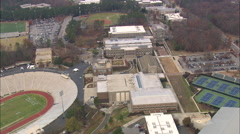 AERIAL United States-Flight With Move Past Sport Complex To The Cameron Indoor - stock footage