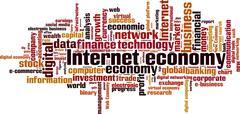 Stock Illustration of Internet economy word cloud
