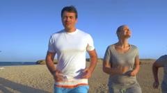 Family vacation with jogging in the evenings Stock Footage
