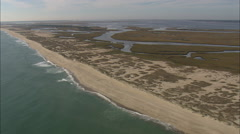 AERIAL United States-Smith Island Shoreline Leading To Cape Fear Stock Footage