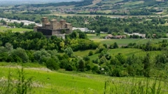 Stock Video Footage of Torrechiara in  Emilia-Romagna, a great castle in Italy
