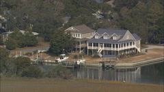 AERIAL United States-Oak Island And Beach Side Homes Stock Footage