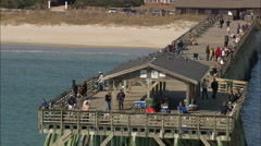 AERIAL United States-People On Springmaid Pier Stock Footage