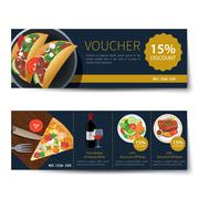 set of food voucher discount template design - stock illustration