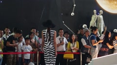 Fashion model show, in the large clothing trade fair Stock Footage
