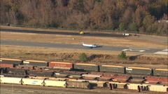 AERIAL United States-Plane Takeoff From Columbia Airport Stock Footage