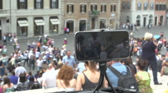 Mobile watch from Spanish steps from Piazza di Spagna, time lapse - stock footage