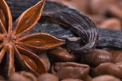 Aroma coffe. ingredients. coffe beens, anise, vanilla Stock Photos