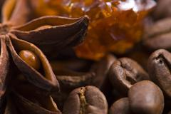 aroma coffe. ingredients. coffe beens, anise, sugar - stock photo