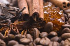aroma coffe. ingredients. coffe beens, anise, vanilla, cinnamon, sugar - stock photo