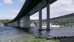 Paddle steamer boat Skibladner passing bridges at Minnesund Stock Footage