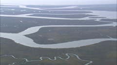 AERIAL United States-Salt Marsh Around Muddy Bay Stock Footage