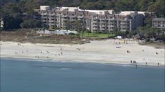 AERIAL United States-Forest Beach Stock Footage