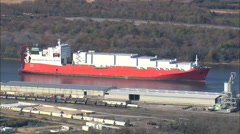 Stock Video Footage of AERIAL United States-Bulk Carrier On Savannah River
