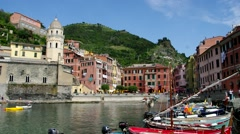 Cinque Terre, the harbour from Vernazza Stock Footage