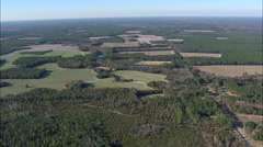 AERIAL United States-Fields And Woods Around Statesboro Stock Footage