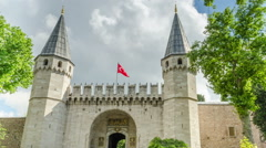 The Main Gate To The Topkapi Palace Stock Footage