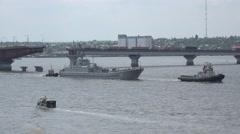 Pass under the drawbridge warship summer evening sunset, 4k Stock Footage