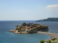 The Old Town on the island of St. Stefan in Adriatic sea (Montenegro). - stock photo