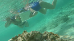 People Using Touch Pad Underwater Stock Footage