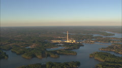 AERIAL United States-Power Station On Lake Sinclair At Dusk Stock Footage