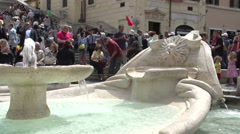 Fountain at Spanish steps from Piazza di Spagna Stock Footage