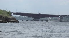 Great Bridge parted for the passage of vessels on the background of the city Stock Footage
