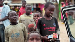 Poor street children in Africa dancing, Kenya Stock Footage