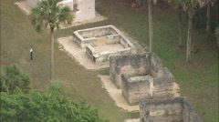 AERIAL United States-Kingsley Plantation Slave Quarters Stock Footage