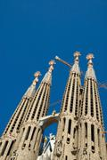 Unfinished gothic cathedral Sagrada Familia in Barcelona, Spain Stock Photos