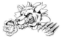 Wolf claw breakthrough - stock illustration